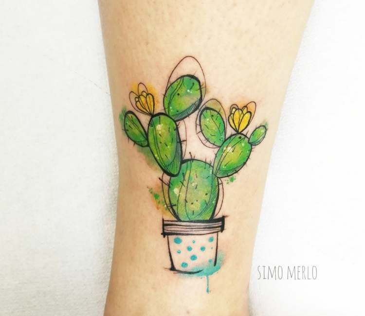 Cactus In Pot Tattoo By Simona Merlo Cartoon Tattoos Cactus