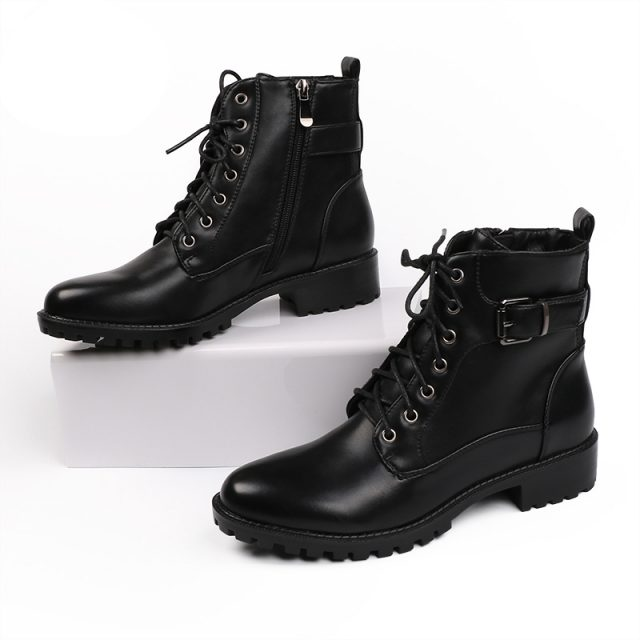 High Quality Black Leather Warm Ankle