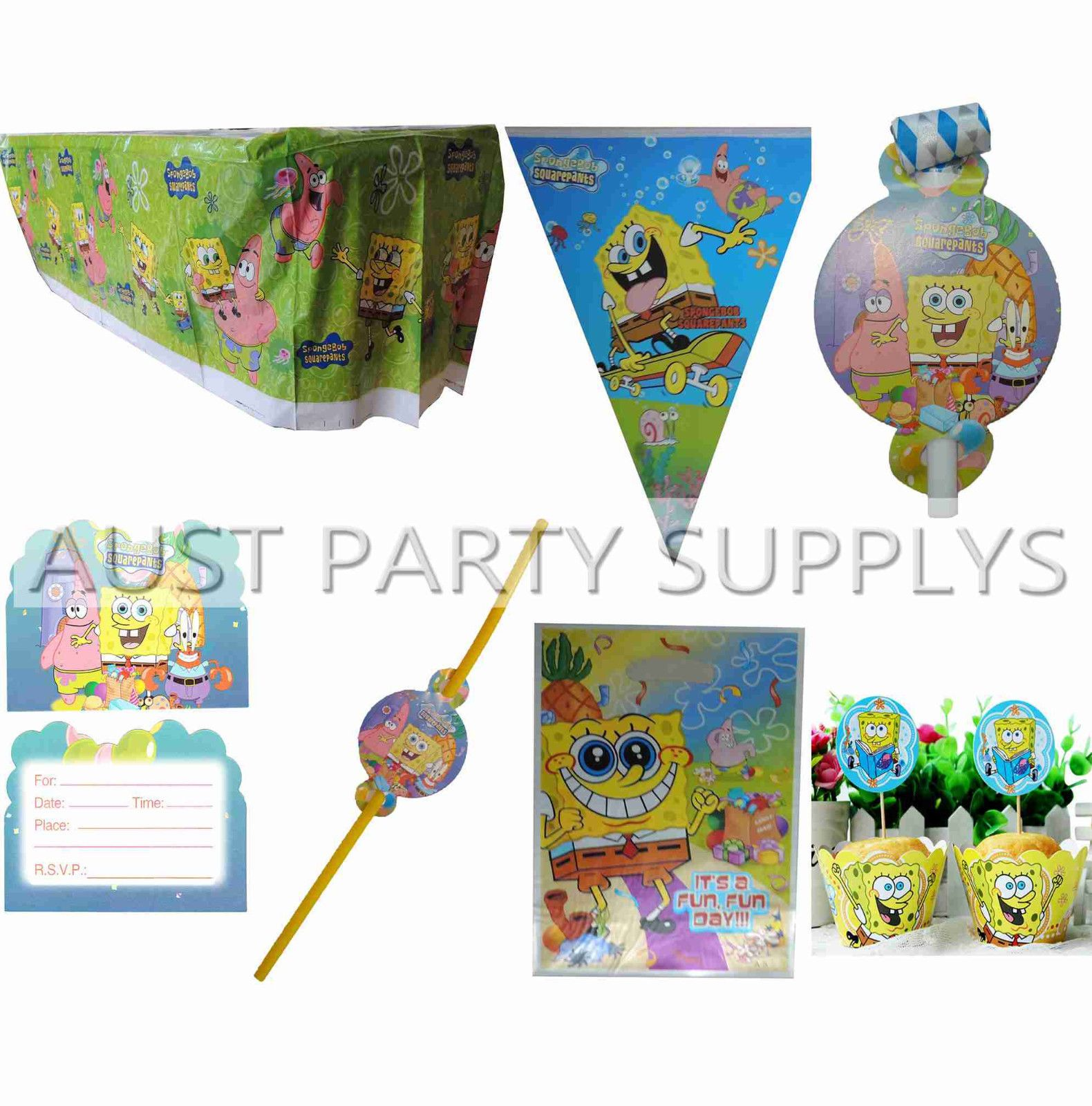 Spongebob Squarepants Banner Tablecover Cupcake Wrapper Topper Party ...