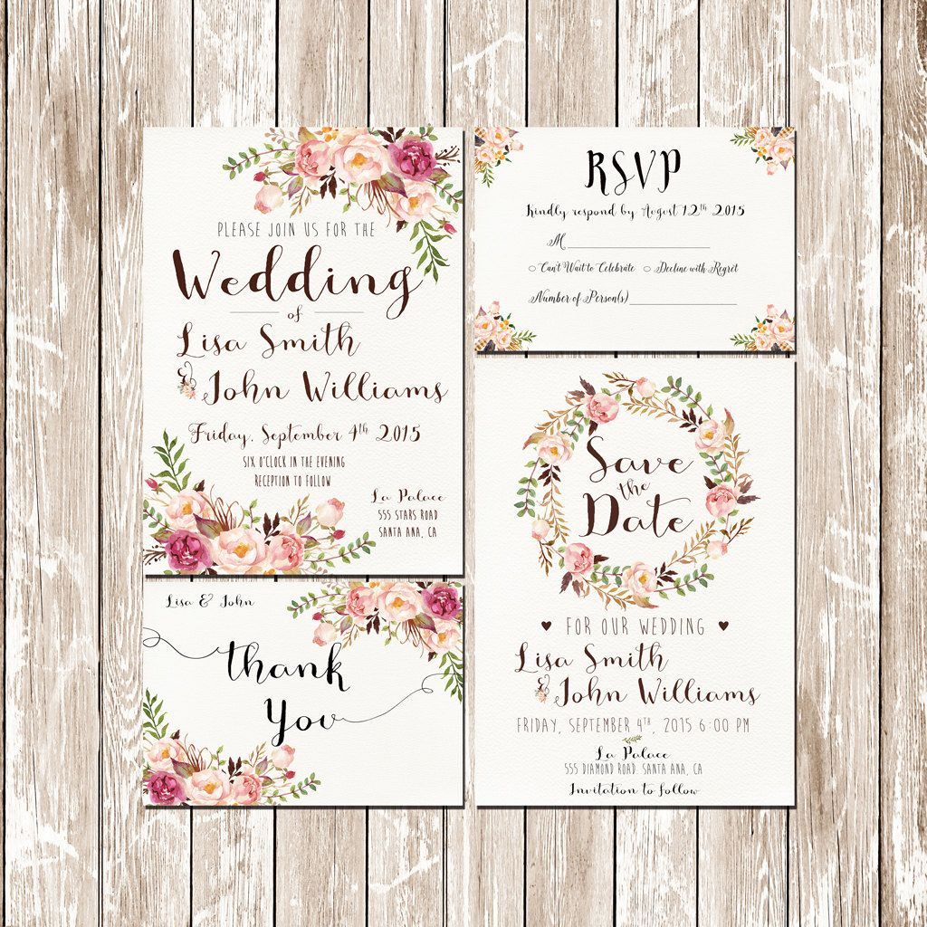 invitation kit wedding invitation pink floral rustic watercolor setsuite save the date rsvp thank you cards printable digital files pf 18 - Rustic Wedding Invitation Kits