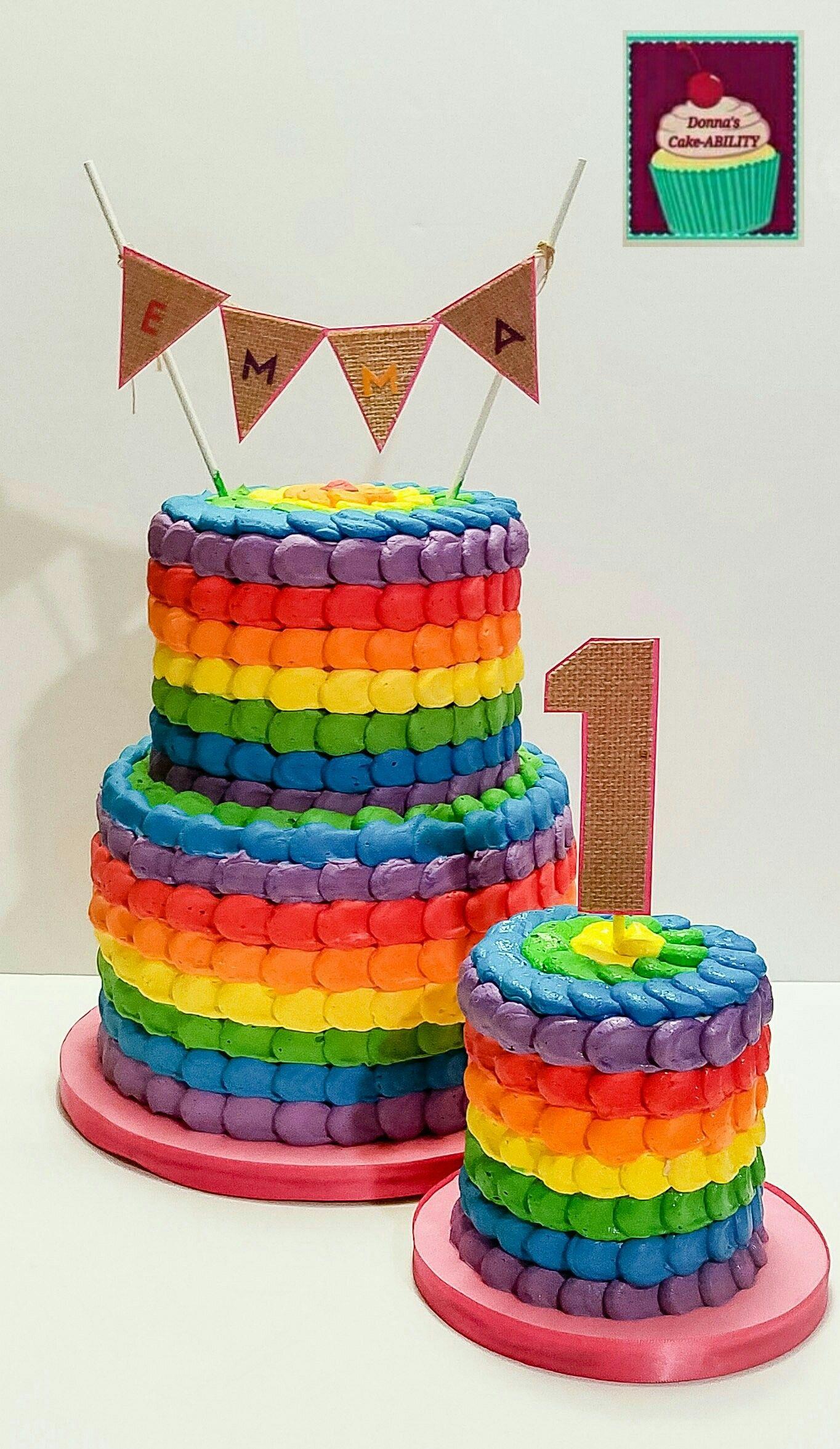 Rainbow Petal Cake With Smash Cakes Buttercream