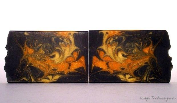 black & gold mica soap - hanger swirl