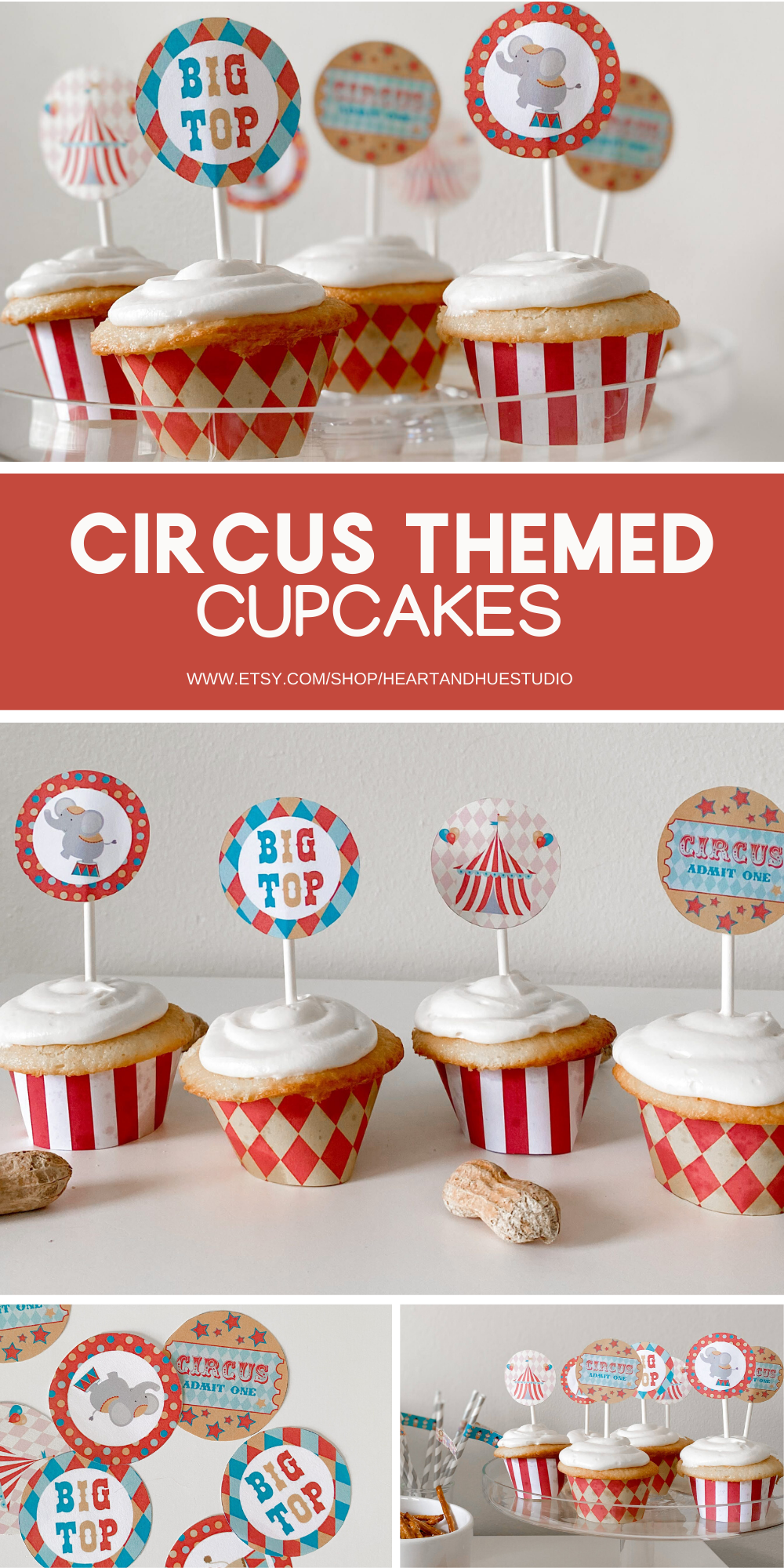 Circus Party Cupcake Topper Cupcake Topper Printable Carnival party decoration First Birthday Decorations Carnival Cupcake