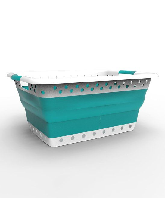 Take A Look At This White Teal Collapsible Laundry Basket Today