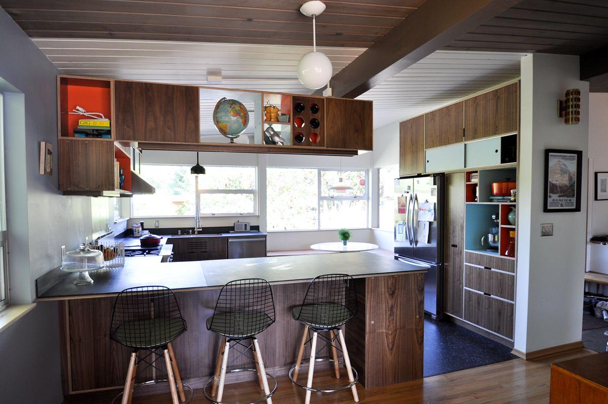 Mid Century Modern Kitchen Remodel Decor Endearing Mid Century Remodel Kerf Cabinets Darker Woods  Mcm Kitchen . 2017
