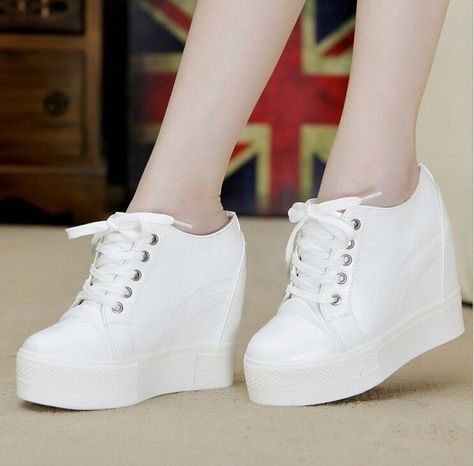 67d058ac653 Hidden Wedge Creeper Platform Fashion Womens Lace Up Sneakers Low Top Shoes