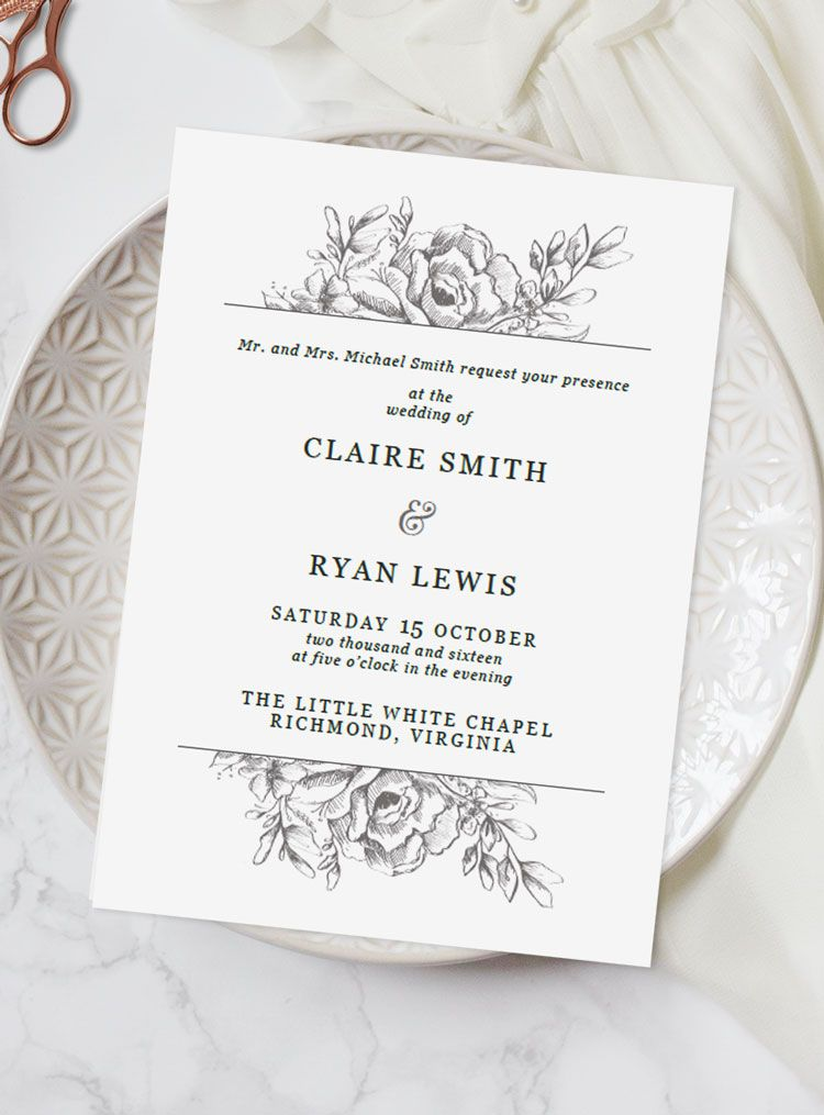 At A Loss For What To Say On Your Wedding Invitations Here S Our Handy Gui Hand Drawn Wedding Invitations Wedding Invitations Diy Wedding Invitation Templates