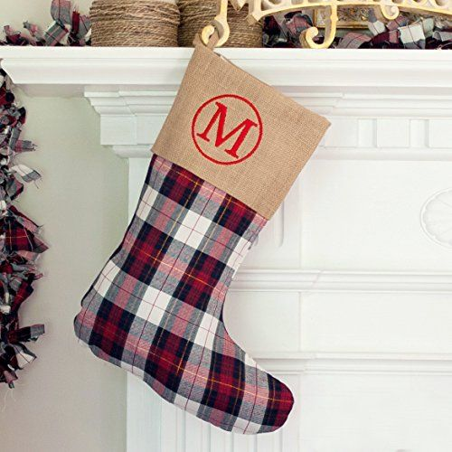 3aefb1515bc Personalized Monogrammed Winter Plaid Stocking Winter Plaid Burlap  Monogrammed Christmas Stocking Farmhouse Christmas Stocking Kids Stocking  Personalized ...