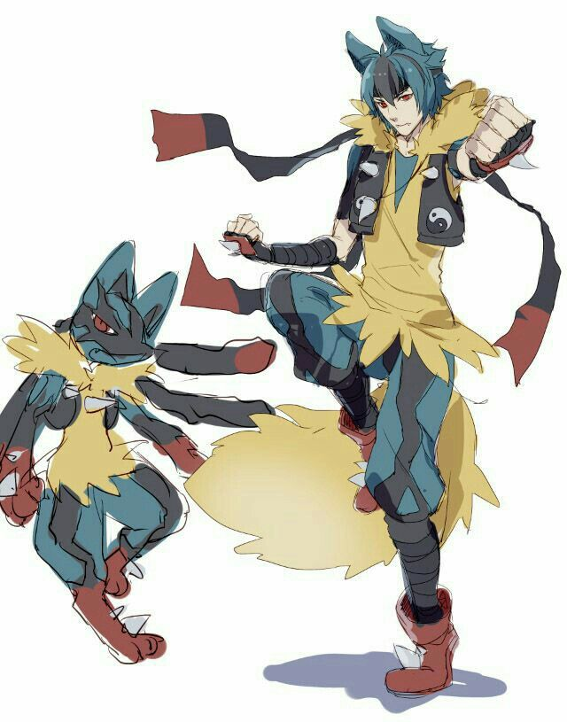 Mega Lucario, Mega Evolution, anime boy, human form, cool; Pokémon ...
