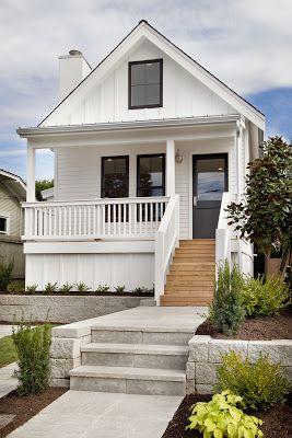 White Board Batten And Black Windows Modern Farmhouse Exterior Cottage Exterior Modern Cottage