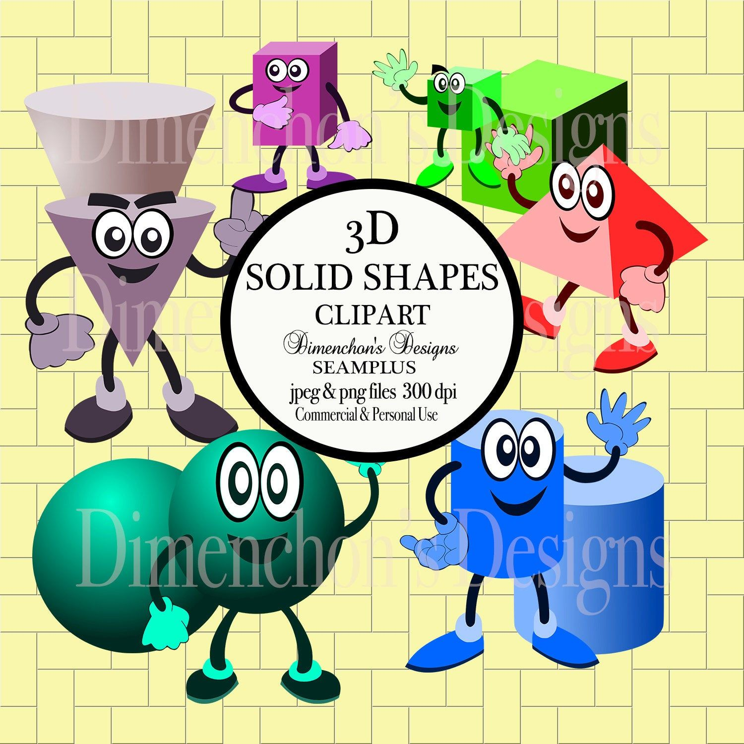 3d Solid Shapes With Characters Clipart With Images