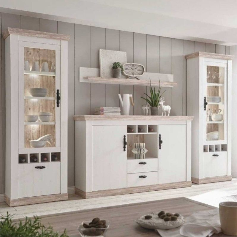 Rustic Home Furniture Set With Sideboard In White With Pine Shabby