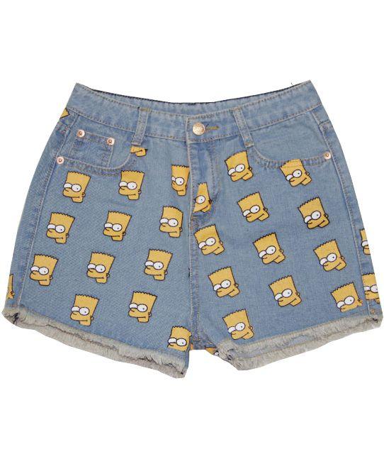 621d7f761d68 Light Blue High Waist Simpson Print Denim Shorts - Sheinside.com ...