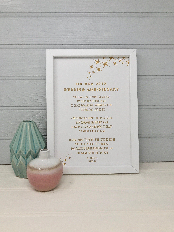 Personalised 30th Wedding Anniversary Poem 30th Anniversary Gift For Husband For Wife In 2020 Wedding Anniversary Poems 30th Wedding Anniversary Anniversary Poems