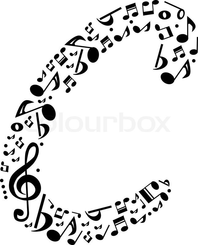 5831a7b78354 Abstract vector alphabet - C made from music notes - alphabet set ...