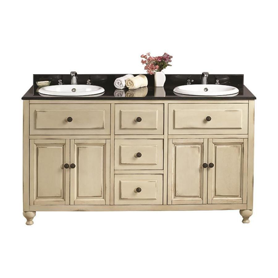 Ove Decors Kensington Antique White Drop In Double Sink Bathroom