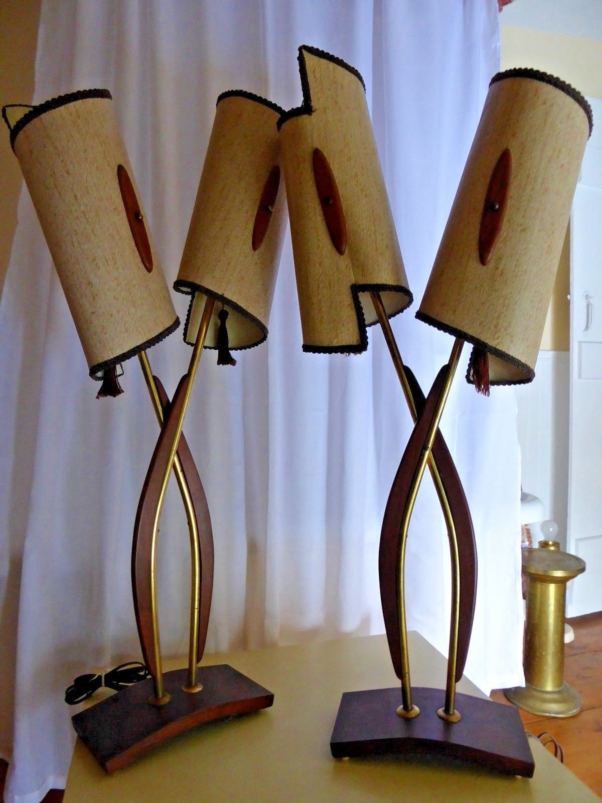 Vtg 1950 S Pair Teak And Brass Lamps With Original Mid Century Modern Shades Ebay Modern Shade Lamp Lamps Living Room