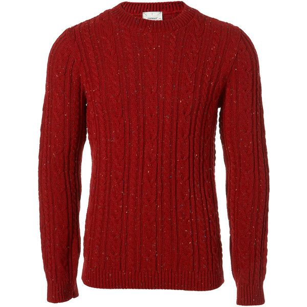 Bright Red Cable Jumper - Plain Sweaters - Men's Sweaters ...