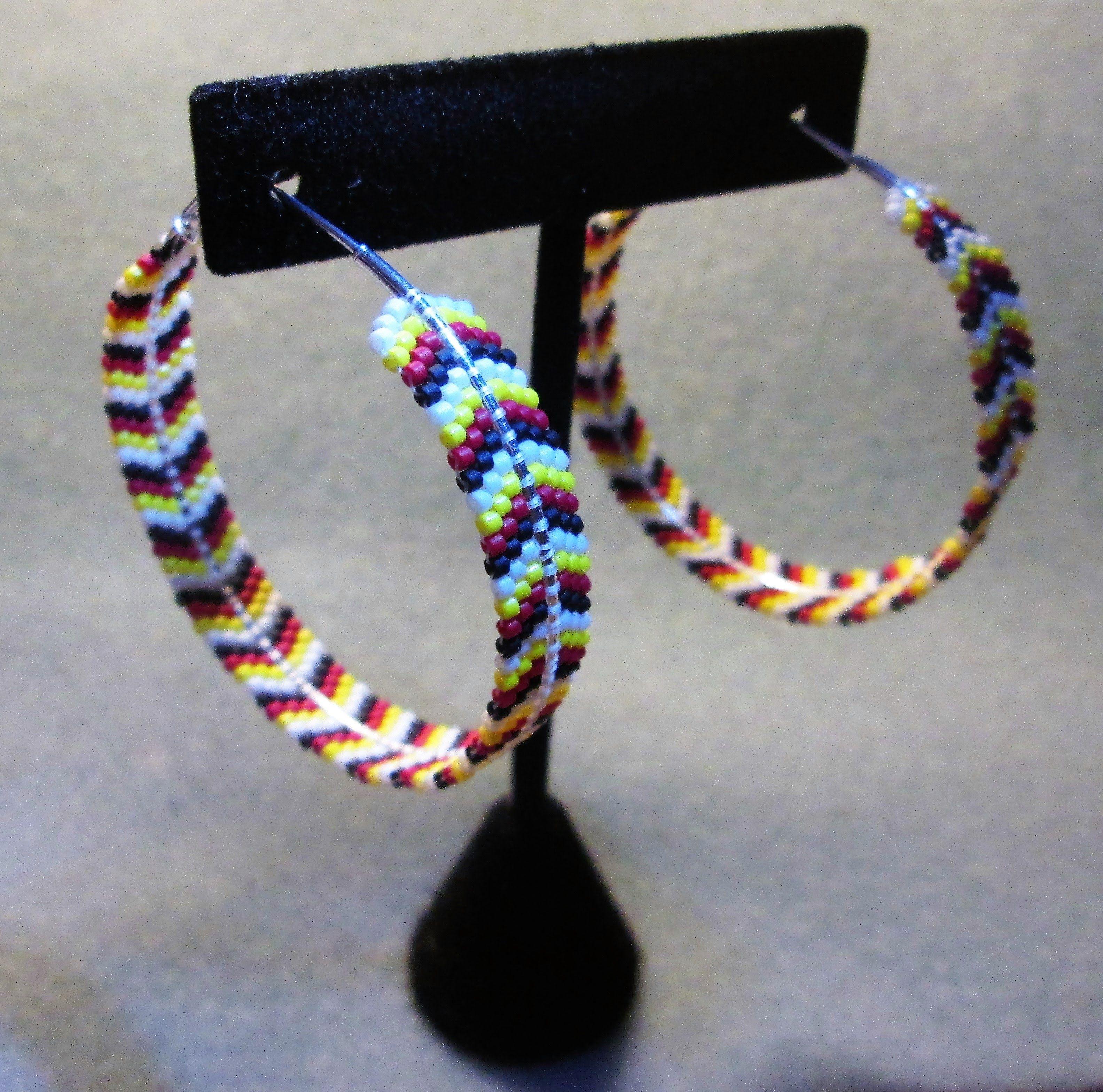 Brick Stitch Hoop Earrings … beads