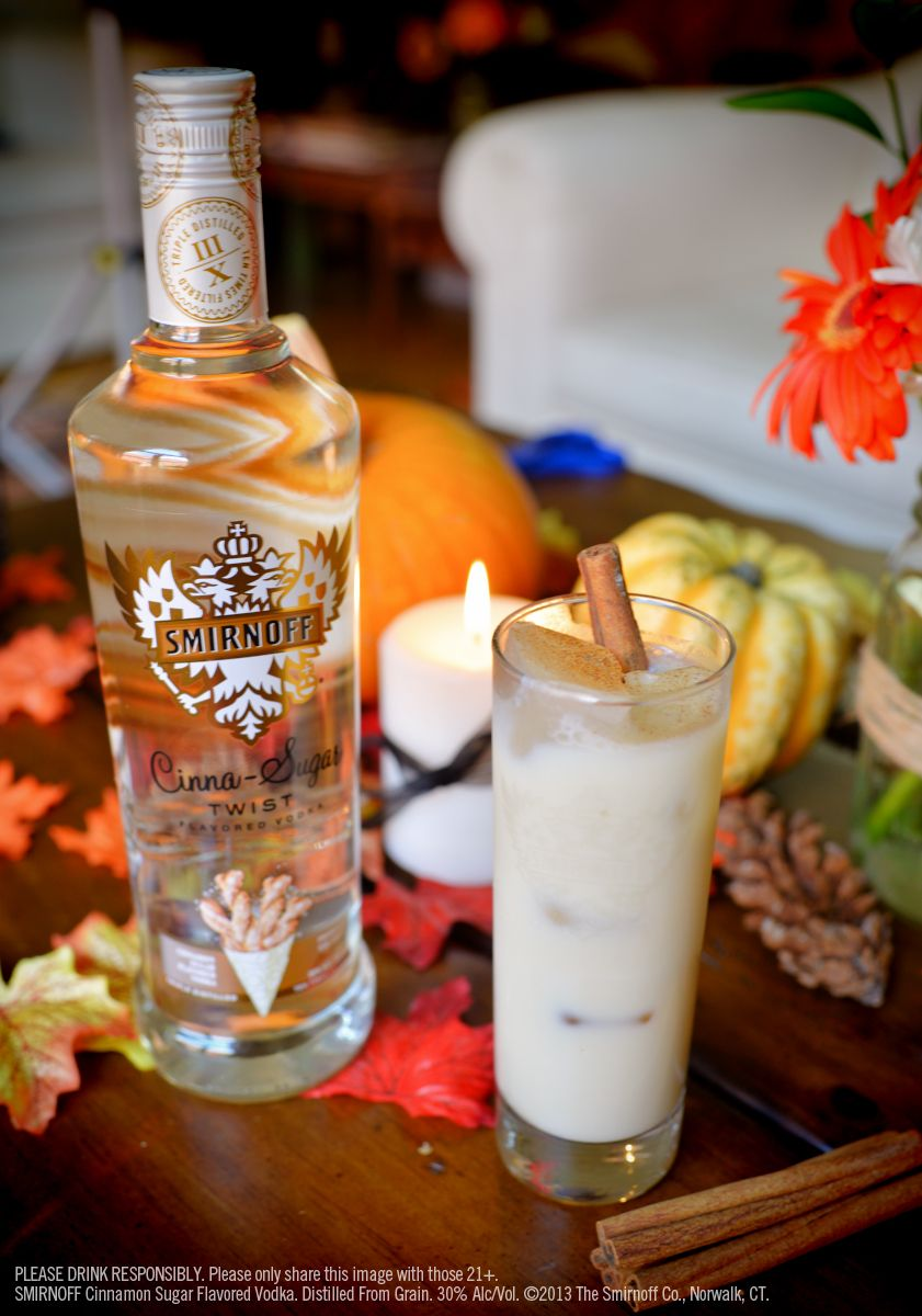 Smirnoff Cinna-Sugar Spiked Chai Tea Latte with 1.5 oz Smirnoff Cinna-Sugar Twist Flavored Vodka, 3.25 oz chai tea, 0.25 soy milk and a Cinnamon stick garnish. Mix first 2 ingredients in tall, ice-filled glass. Top with soy milk. Garnish with cinnamon stick. #Smirnoff #Fall #drink #recipe
