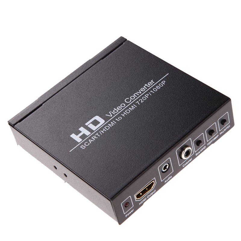 Ni5l nuovo arrivo scart/hdmi a hdmi 720 p 1080 p hd video converter box per hdtv dvd stb spedizione gratuita