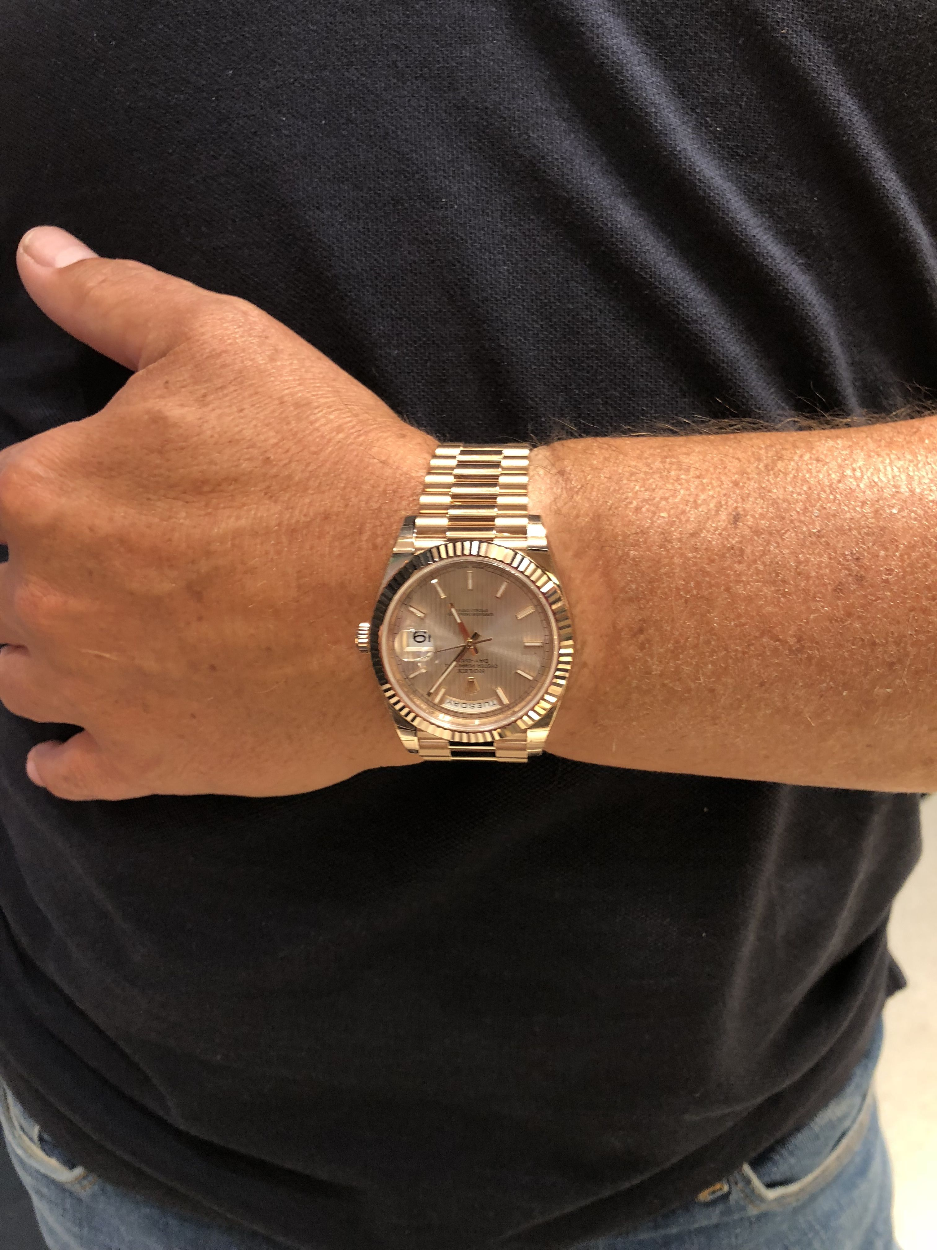 Rolex Day Date 40 Rose Gold And Sundust Dial Thank You Watches Of Switzerland Lhr Best Watches For Men Womens Watches Luxury Rolex Day Date