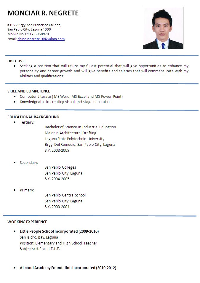 Resume Cv Sample With Images Job Resume Examples Job Resume