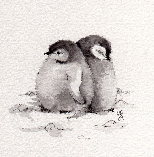 2 Little Penguin Chicks Original Ink Watercolour In 2020