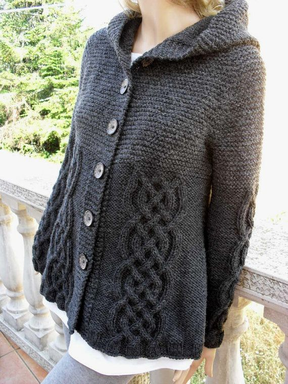 Knit Sweater Womens Cable Knit Jacket Cardigan Dark Grey Hooded ...