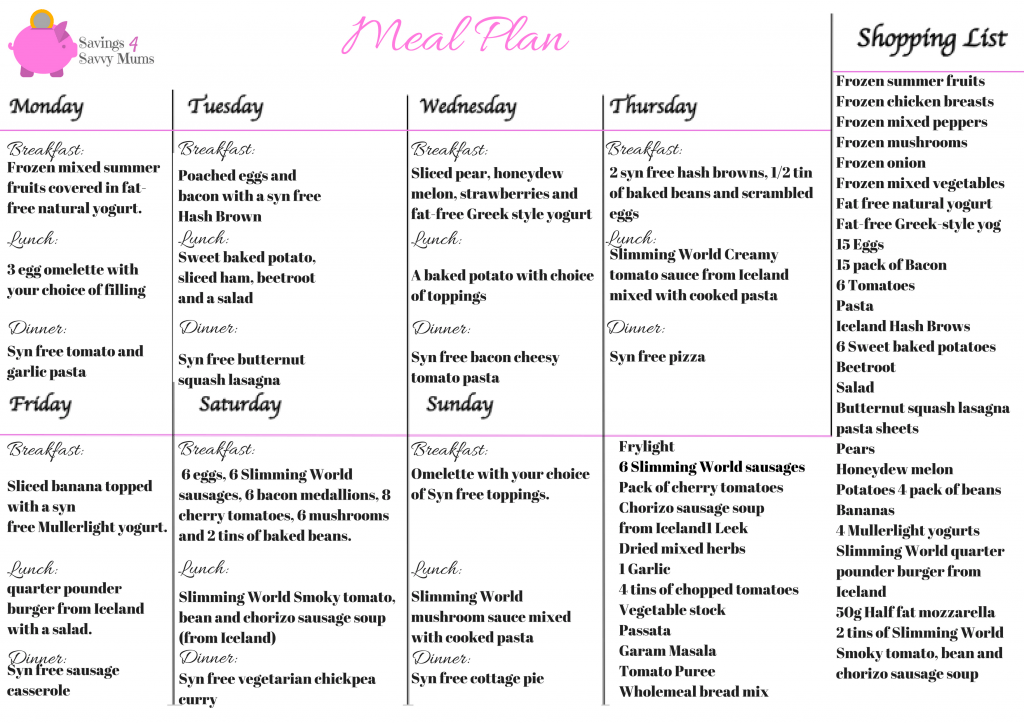 Slimming World Meal Plan 7 Days Of Cheap Slimming World
