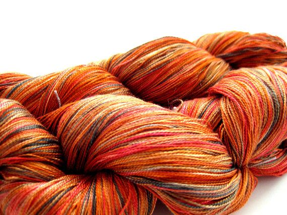 Tropical Fruit Pure Silk Lace weight Hand Dyed Yarn by msgusset, $25.00
