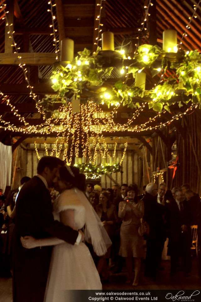 Kissing under a canopy of fairy lights!