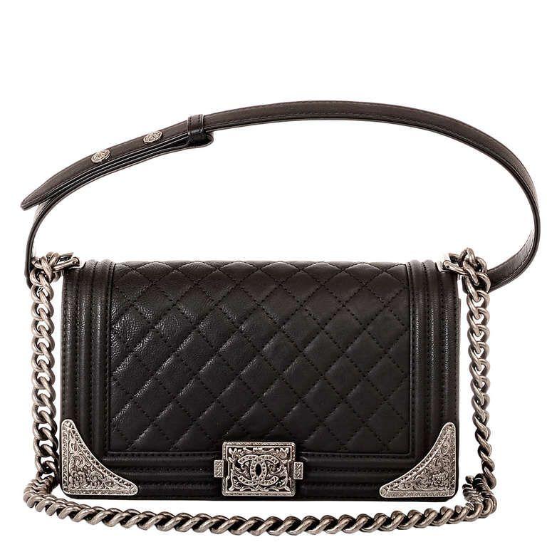 Chanel Black Calfskin Medium Dallas Boy Bag 1stdibs Com Chanel Handbags Chanel Bag Chanel