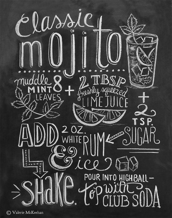 Typography Print Mojito Recipe Cocktail Recipe Kitchen Art Chalkboard Art Hand Lettering Summer Chalkboard Art Chalkboard Art Print Mojito Recipe