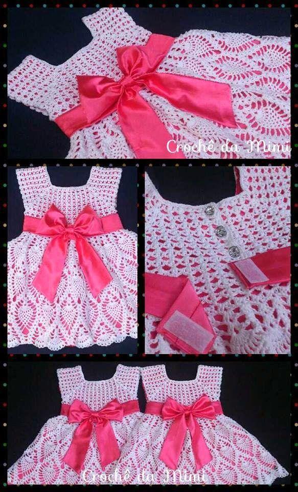 Vestido Crochê Para Menina 2 Anos Com Gráfico Crochê Da