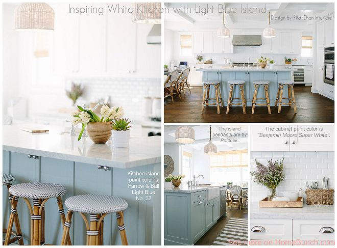 Inspiring white kitchen with light blue island the - Light blue and white kitchen ...