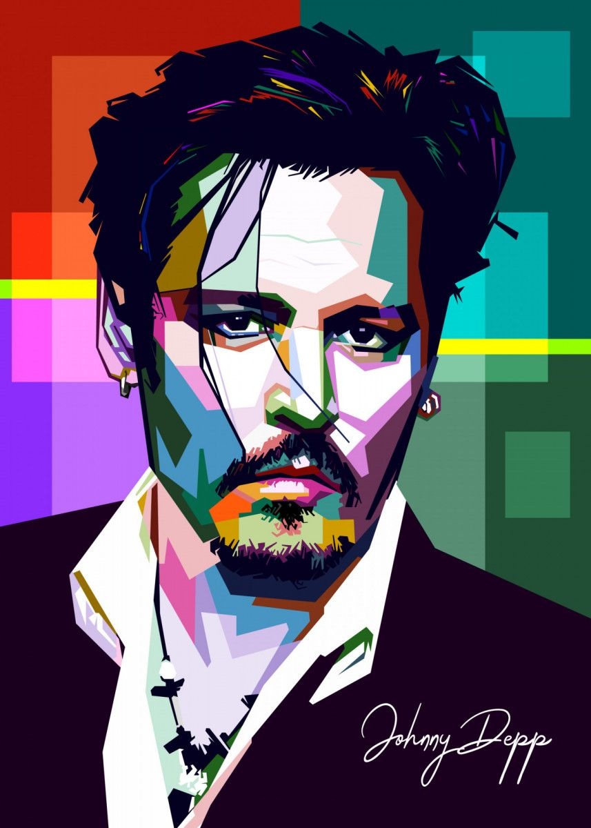 Johnny Depp' Metal Poster - Sobri Alkavie | Displate | Pop art portraits,  Pop art posters, Wpap art