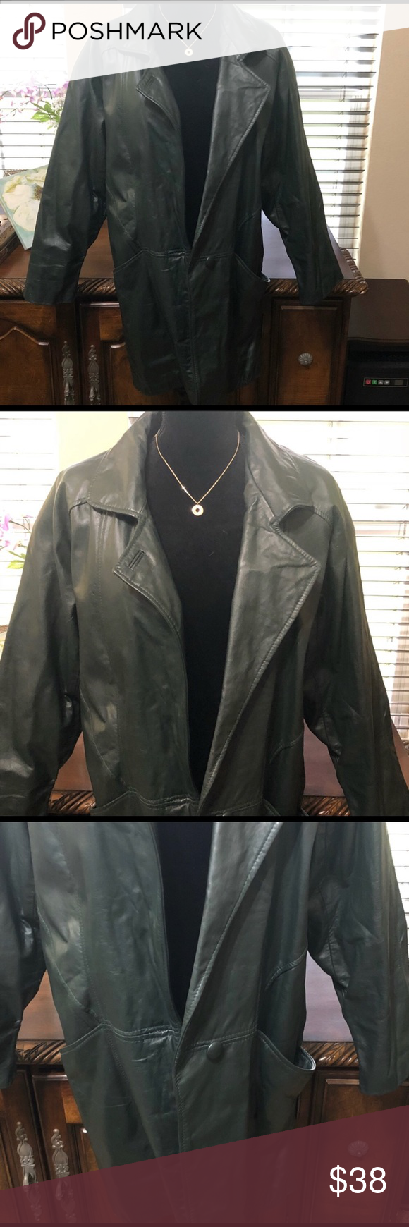 Comint Leather Dark Green Leather Jacket Size Med Euc See Photos For Description Size Medium Comint Leather Jacket Green Leather Jackets Grey Leather Jacket [ 1740 x 580 Pixel ]