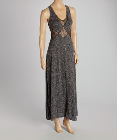 Look what I found on #zulily! Black Sheer Diamond V-Neck Maxi Dress by Peppe Peluso Studio #zulilyfinds