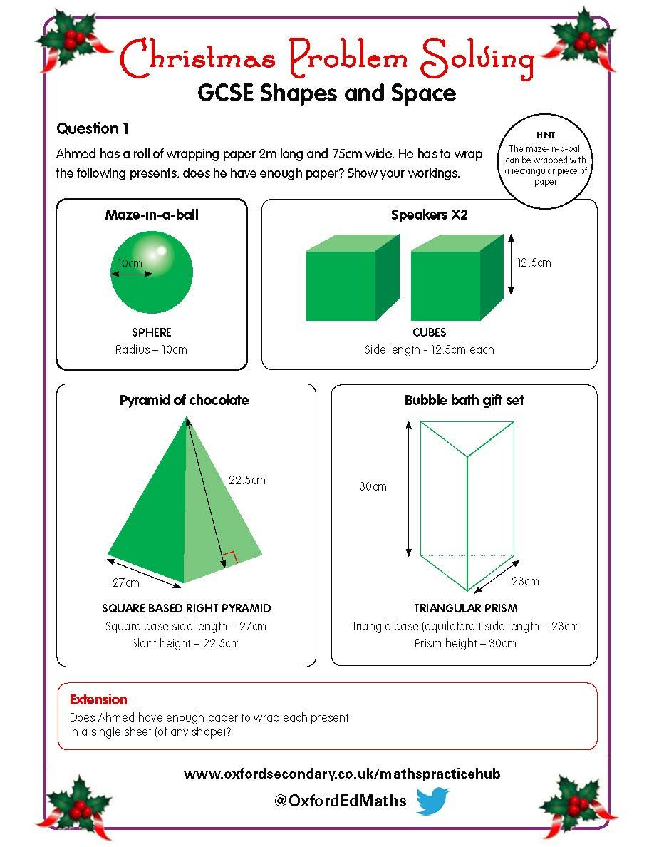 Try this Christmas worksheet on shapes and space with your GCSE – Gcse Math Worksheets