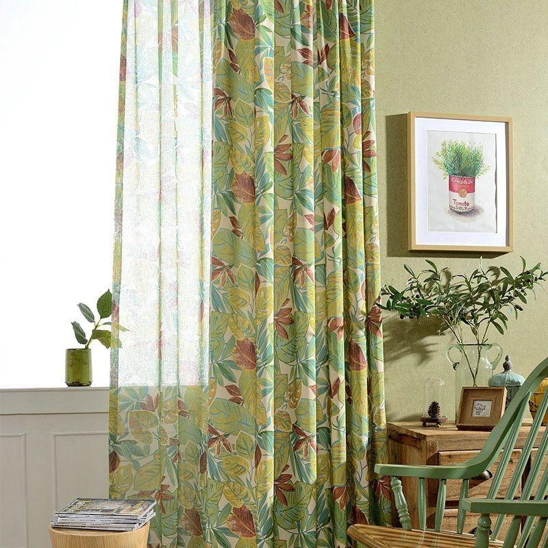 Landhaus Vorhang Grün Blätter Muster im Schlafzimmer