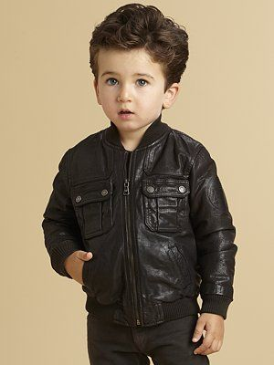 238677fbd Armani Junior Toddler s   Little Boy s Distressed Leather Bomber ...