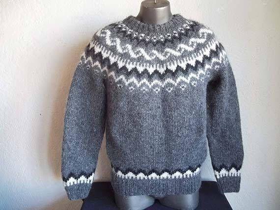 Vintage Handknitting Association Of Iceland Lopapeysa Wool Sweater L