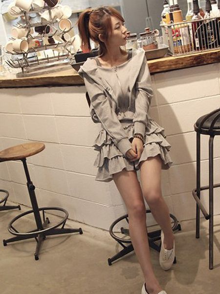 Batwing Sleeve Zipper Hat Collar Ruffle Dress