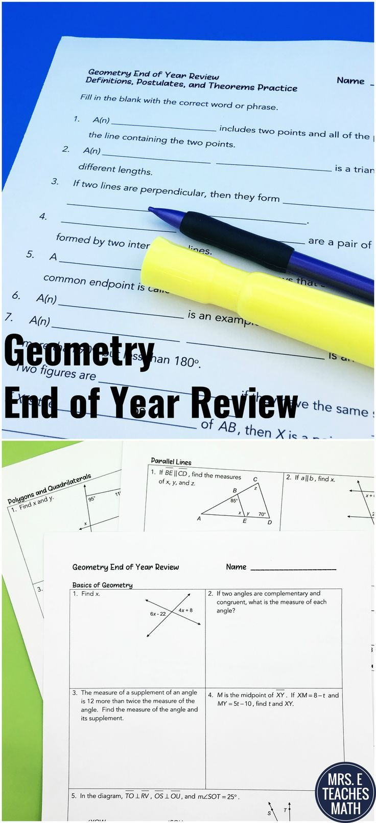 Geometry End Of Year Review Huge Packet Of Review Problems For State Testing Or End Of Year R High School Math Lesson Plans Teaching Math Geometry Vocabulary