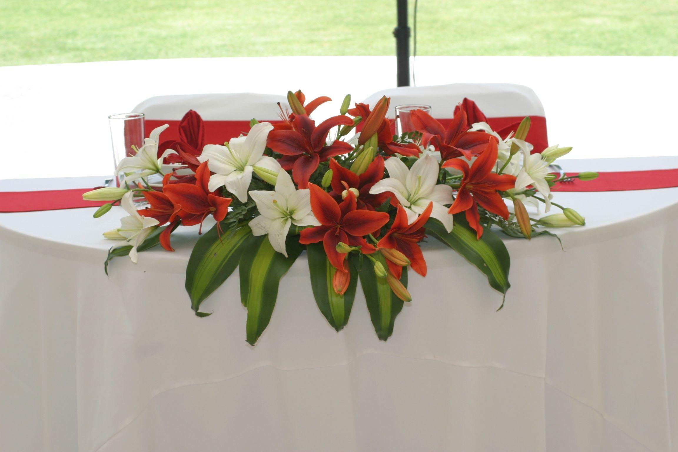 Flores De Mesa De Los Novios En Rojo Y Blanco Www
