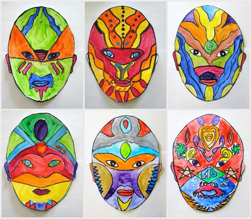 Symmetrical Masks Painted Mask Painting Masks Art Art Lessons