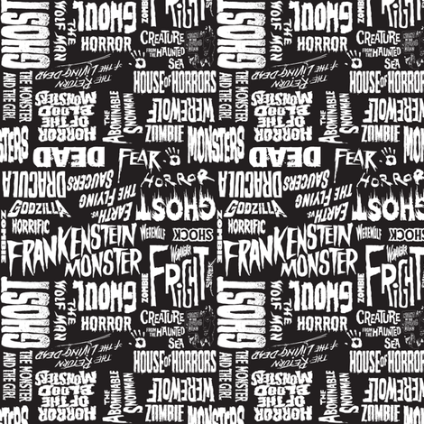 Colorful Fabrics Digitally Printed By Spoonflower Horror Words Horror Prints Horror Word Collage