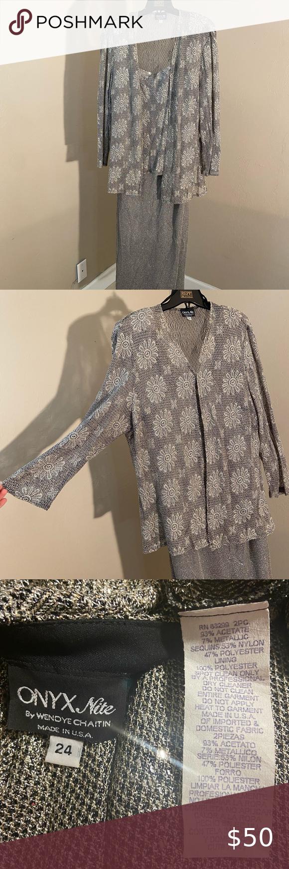 Onyx Nite/Wendye Chaitin/Long Coctail Dress&Jacket Onyx Nite By Wendye Chaitin  ...