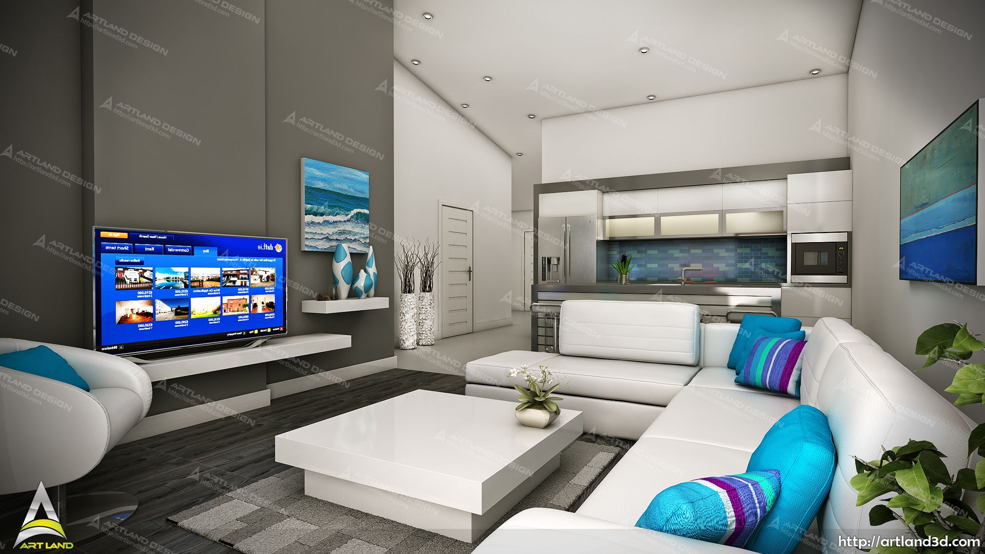 Modern Living Room Colorful Interiors 3d Visualization Modern Living Room Colorful Interiors Design Studio